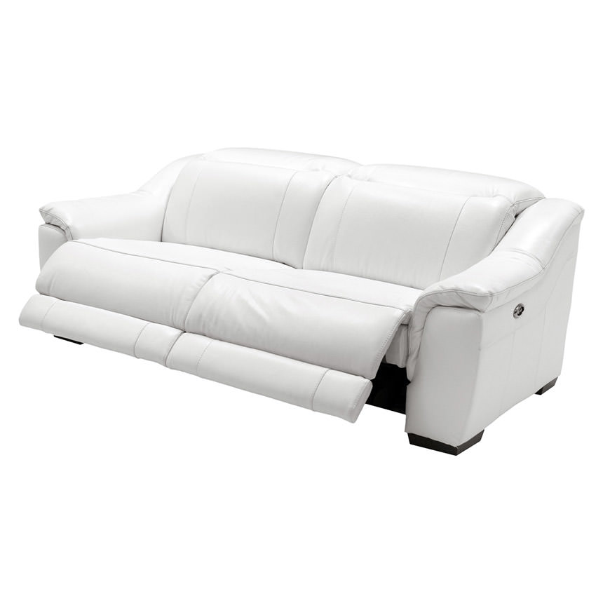 Davis White Power Motion Leather Sofa  alternate image, 4 of 11 images.