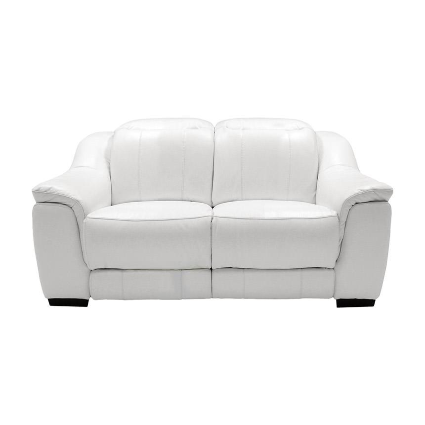 Davis White Power Motion Leather Loveseat   El Dorado Furniture