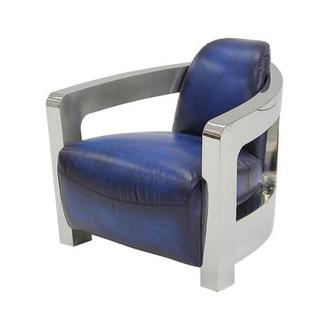 Aviator Blue Leather Accent Chair