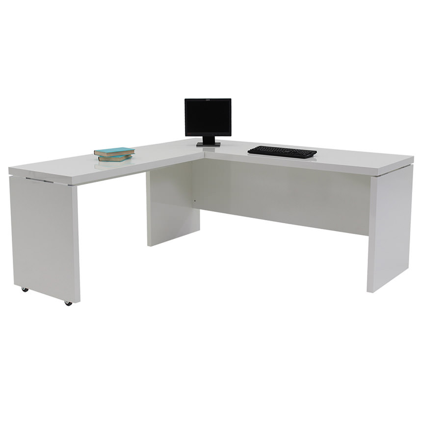 Sedona White L-Shaped Desk  alternate image, 3 of 6 images.