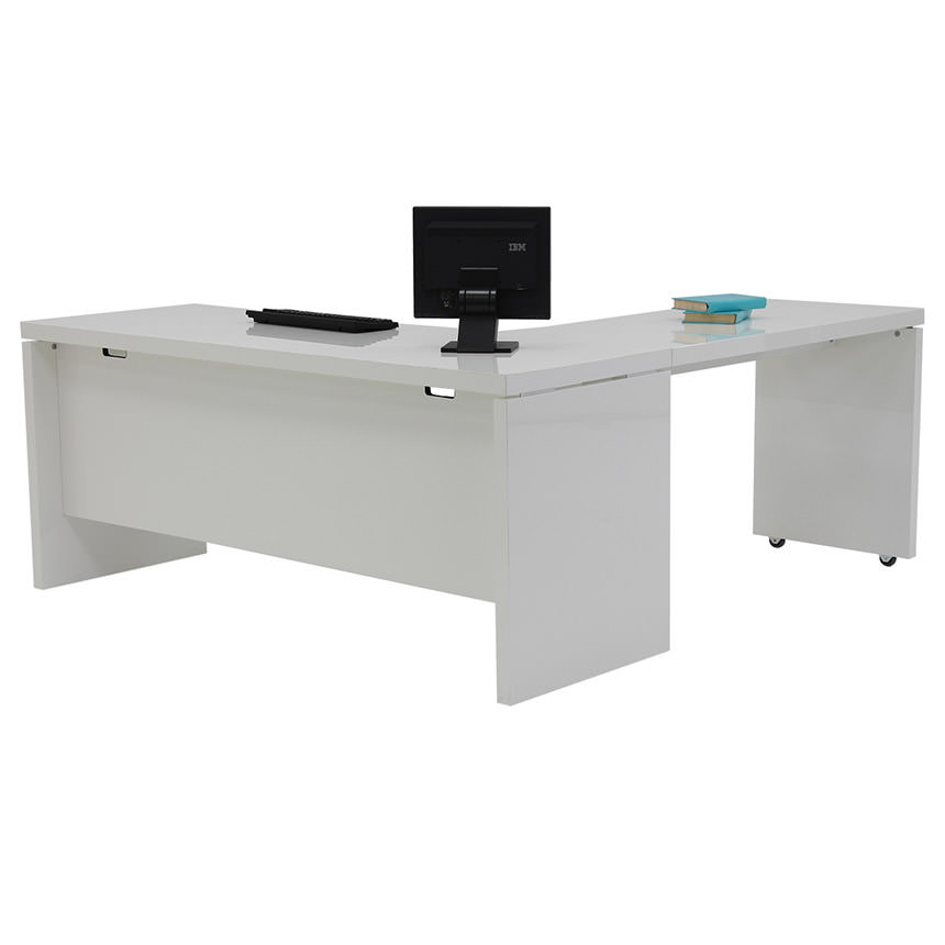 Sedona White L-Shaped Desk  main image, 1 of 6 images.
