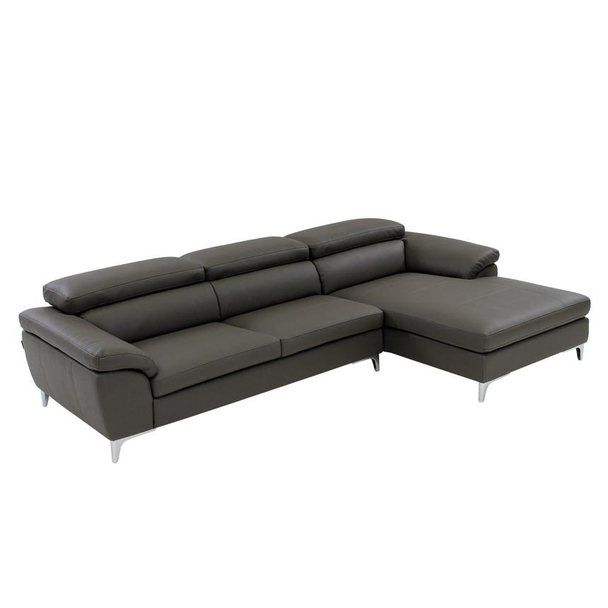 Costa Gray Corner Sofa w/Right Chaise  main image, 1 of 9 images.