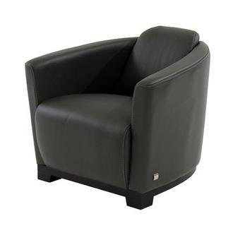 Fellini Gray Leather Accent Chair