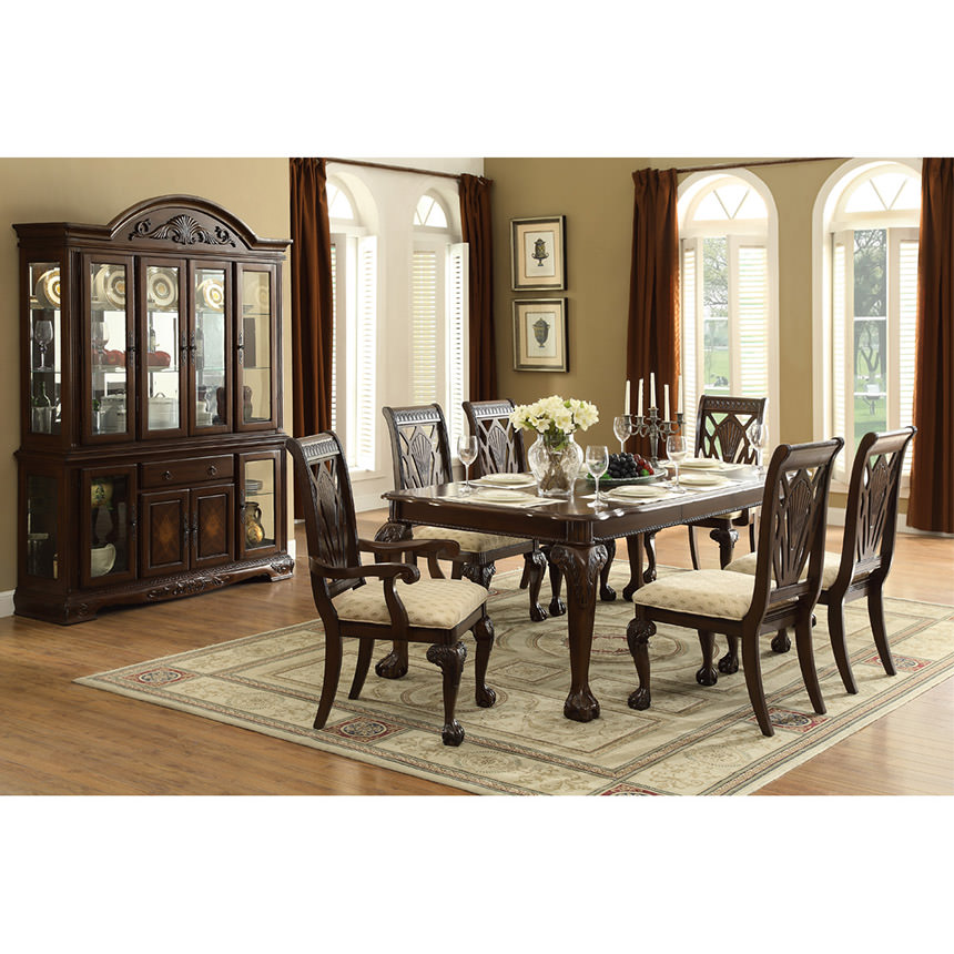 Cleopatra Ornate Traditional Cherry Formal Dining Room: Eloisee 5-Piece Formal Dining Set