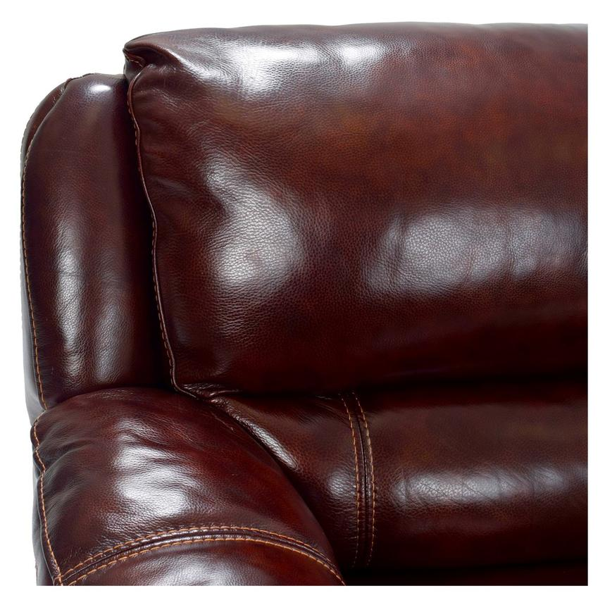 Theodore Burgundy Power Motion Leather Sofa w/Right & Left Recliners ...