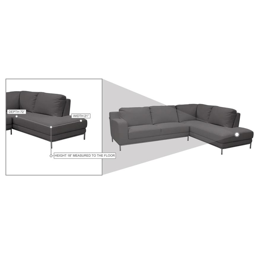 Cantrall Dark Gray Corner Sofa w/Right Chaise  alternate image, 8 of 8 images.