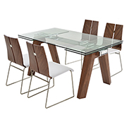 Valencia Brown/White 5-Piece Formal Dining Set  main image, 1 of 14 images.