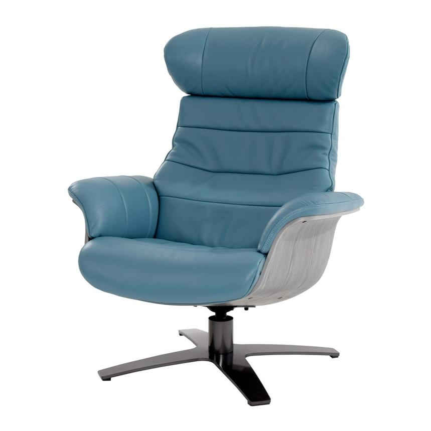 Enzo Blue Leather Swivel Chair  main image, 1 of 12 images.