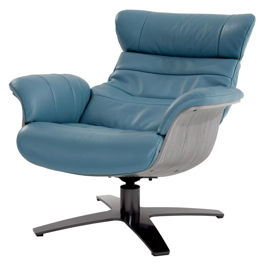Enzo Blue Leather Swivel Chair  alternate image, 5 of 13 images.