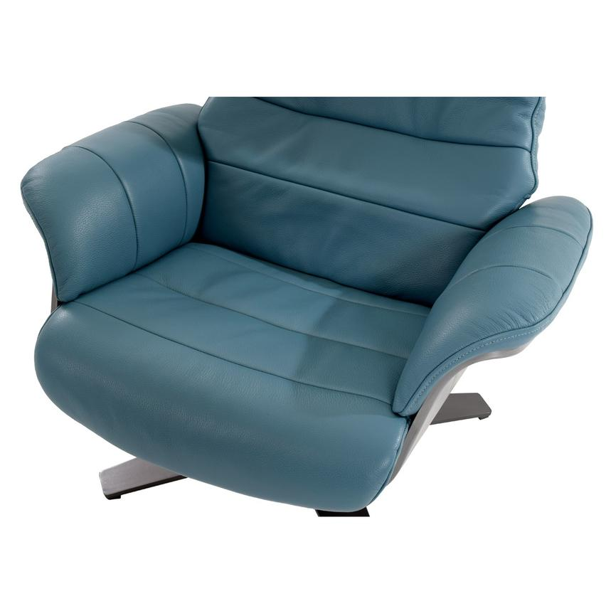 Enzo Blue Leather Swivel Chair  alternate image, 10 of 13 images.