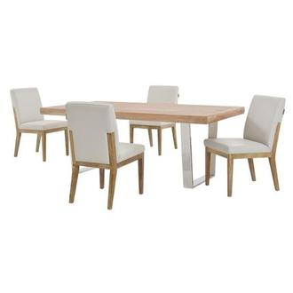 Vela/Suria Light Gray 5-Piece Formal Dining Set