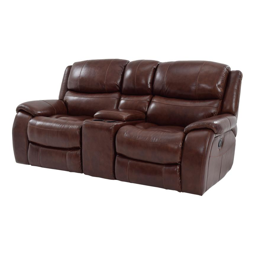 Abilene Leather Reclining Sofa W Console
