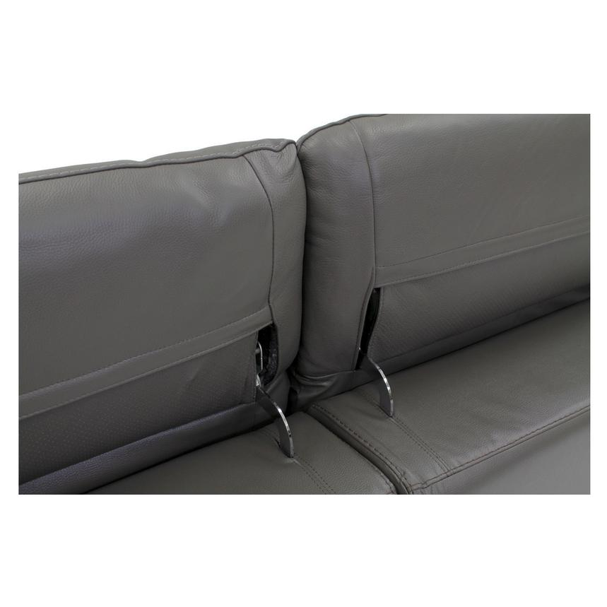 Davis Gray Power Motion Leather Sofa w/Right & Left Recliners  alternate image, 5 of 9 images.
