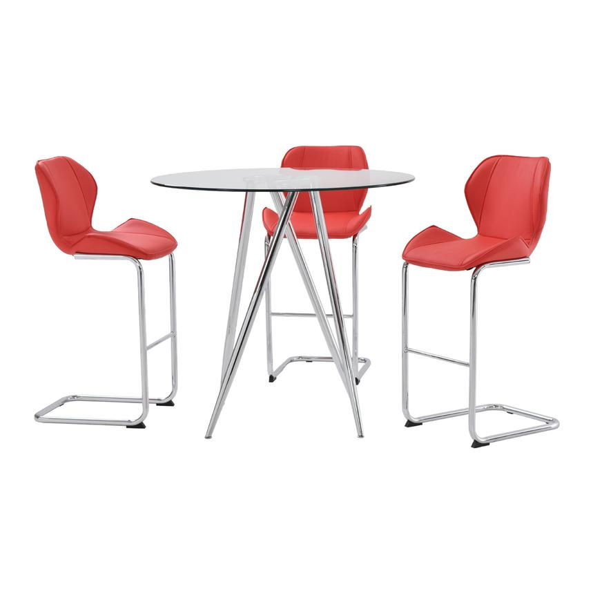 Latika Red 4-Piece Counter Dining Set  main image, 1 of 9 images.