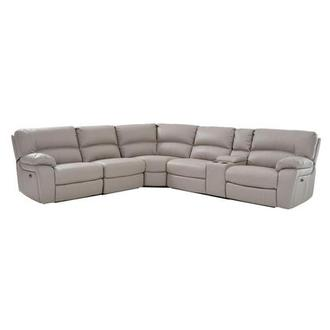 Camillo Gray Power Motion Sofa w/Right & Left Recliners