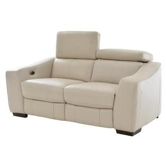 James Cream Power Motion Leather Loveseat