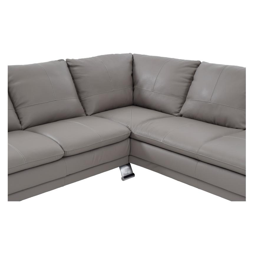 Rio Light Gray Leather Sectional Sofa w/Right Chaise