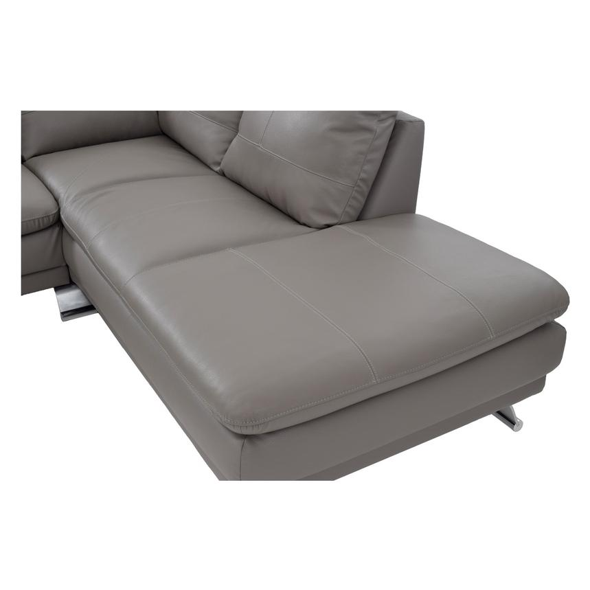 Rio Light Gray Leather Corner Sofa w/Right Chaise  alternate image, 5 of 8 images.