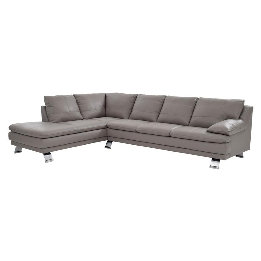 Rio Light Gray Leather Corner Sofa w/Left Chaise  main image, 1 of 7 images.