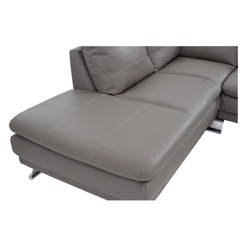Rio Light Gray Leather Sofa w/Left Chaise  alternate image, 5 of 7 images.