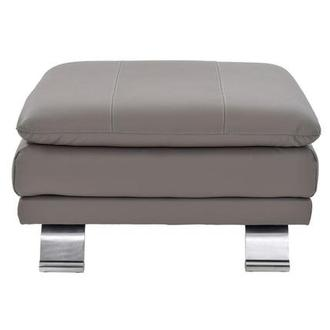 Rio Light Gray Leather Ottoman Made in Brazil