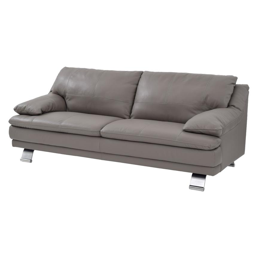 Rio Light Gray Leather Sofa  main image, 1 of 8 images.