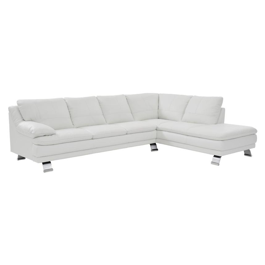 Rio White Leather Corner Sofa w/Right Chaise  main image, 1 of 8 images.