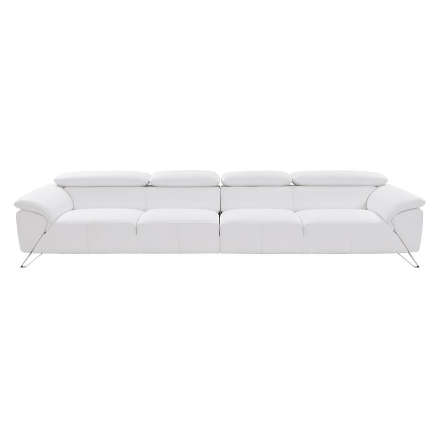Tesla White Oversized Leather Sofa  alternate image, 4 of 8 images.