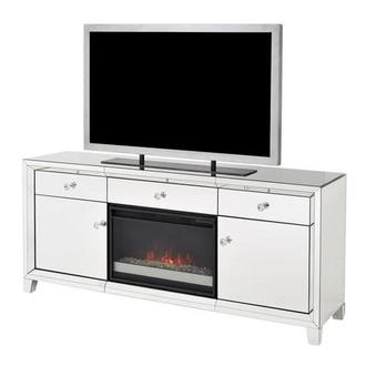 Amia Mirrored Faux Fireplace W Remote Control