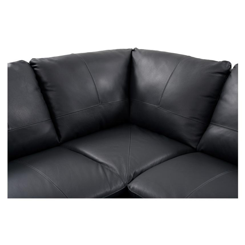 Rio Dark Gray Leather Sectional Sofa w/Left Chaise