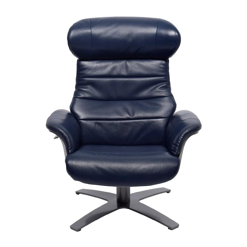 Enzo Dark Blue Leather Swivel Chair  alternate image, 4 of 11 images.