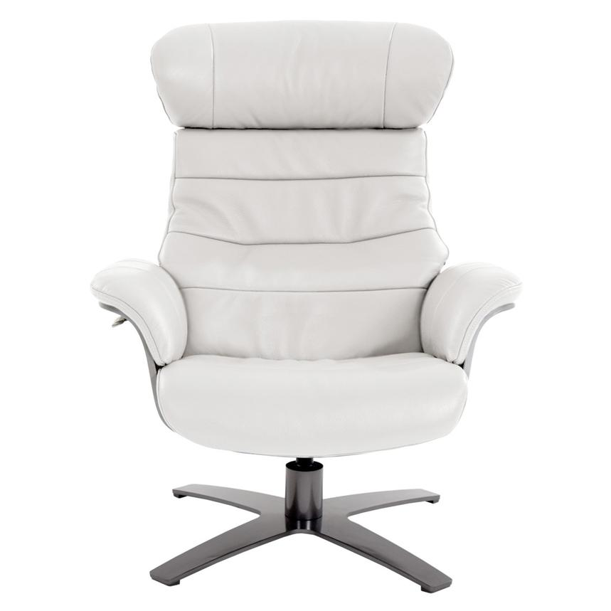 Enzo Pure White Leather Swivel Chair  alternate image, 5 of 12 images.