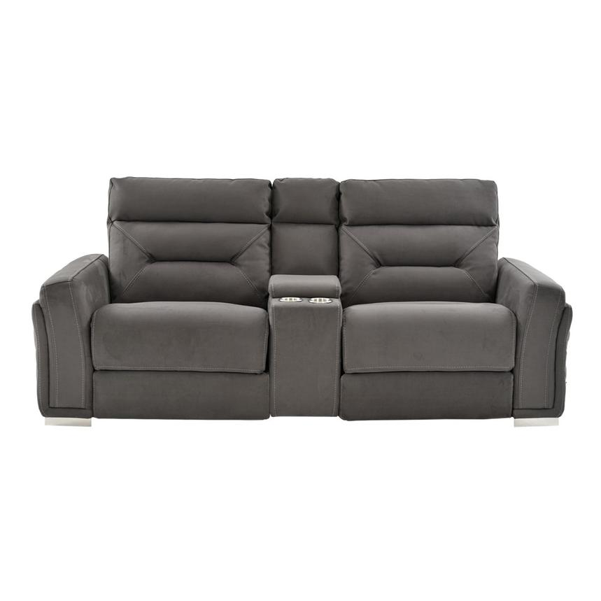 Kim Gray Power Reclining Sofa w/Console  alternate image, 5 of 14 images.