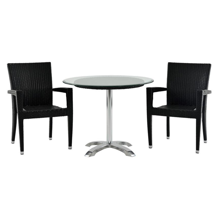 Gerald/Neilina Black 3-Piece Patio Set w/10mm Glass Top  main image, 1 of 9 images.