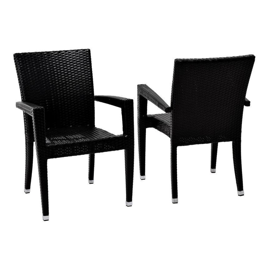 Gerald/Neilina Black 3-Piece Patio Set w/10mm Glass Top  alternate image, 5 of 9 images.