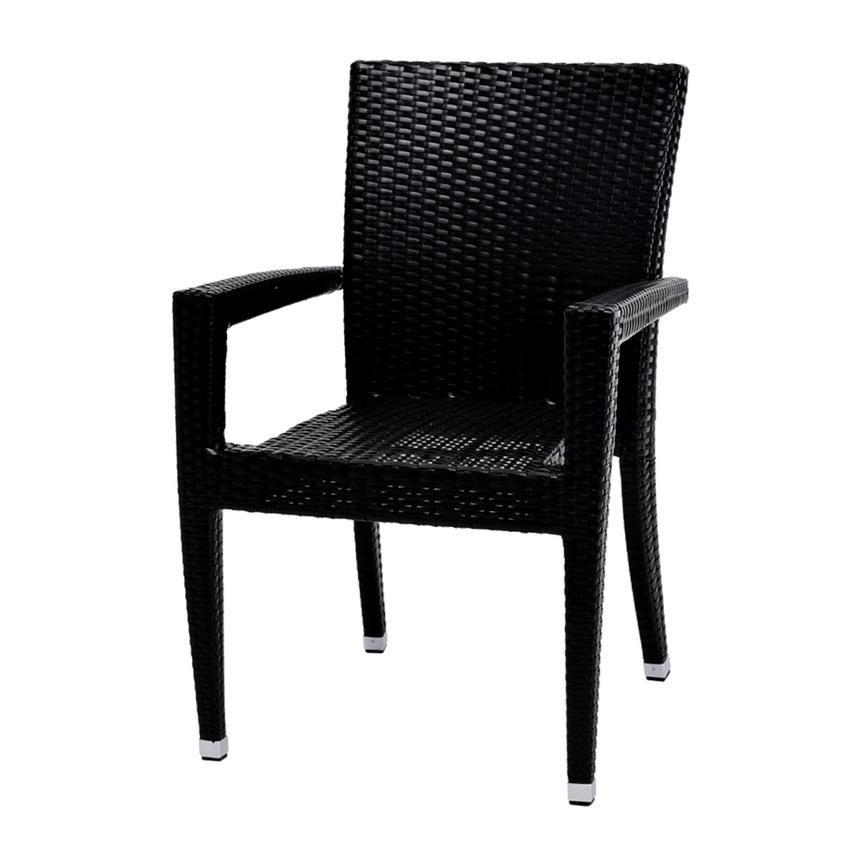 Gerald/Neilina Black 3-Piece Patio Set w/10mm Glass Top  alternate image, 6 of 9 images.