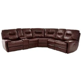 Houston Brown Power Motion Leather Sofa w/Console