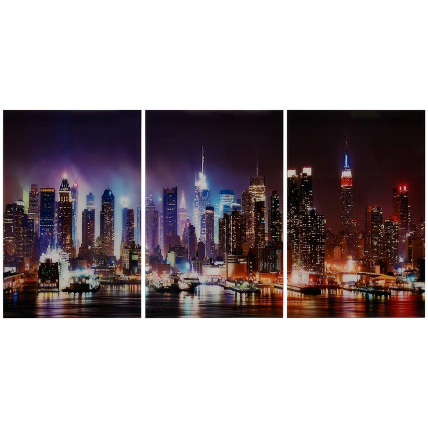 Skyline Set of 3 Acrylic Wall Art  main image, 1 of 4 images.