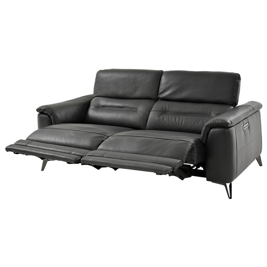 Anabel Gray Leather Power Reclining Sofa  alternate image, 5 of 15 images.
