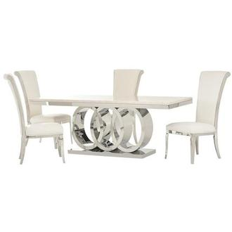 Lillian/Joy White 5-Piece Dining Set