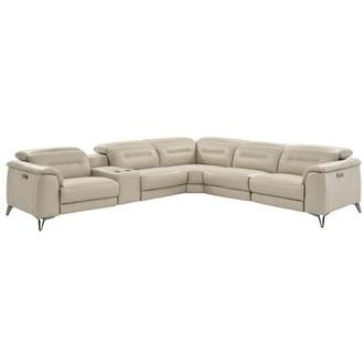 Anabel Cream Leather Power Reclining Sectional