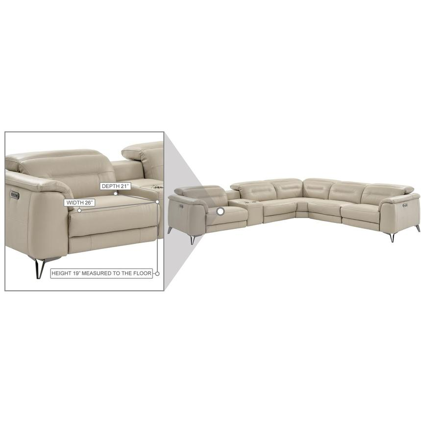 Anabel Cream Leather Power Reclining Sectional  alternate image, 19 of 19 images.