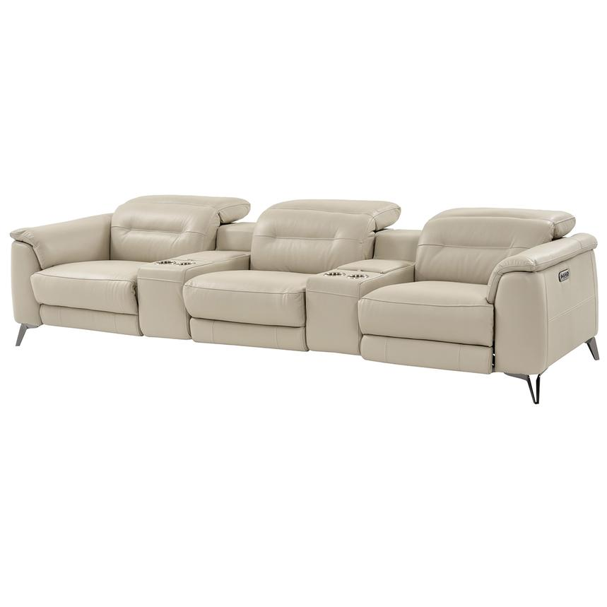 Anabel Cream Home Theater Leather Seating  main image, 1 of 16 images.