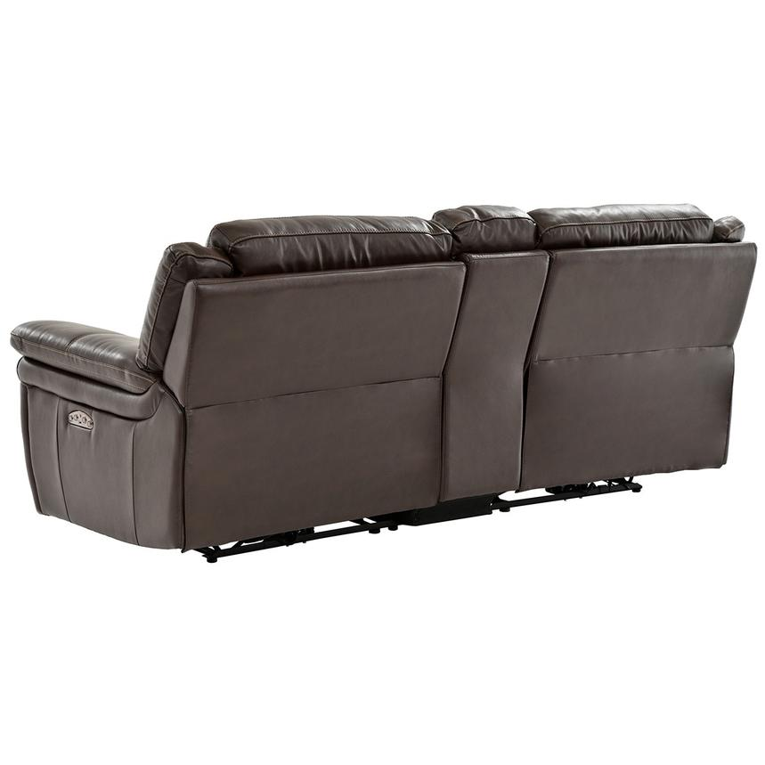 Stallion Brown Leather Power Reclining Sofa w/Console  alternate image, 4 of 9 images.
