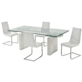 Industria/Lea White 5-Piece Formal Dining Set