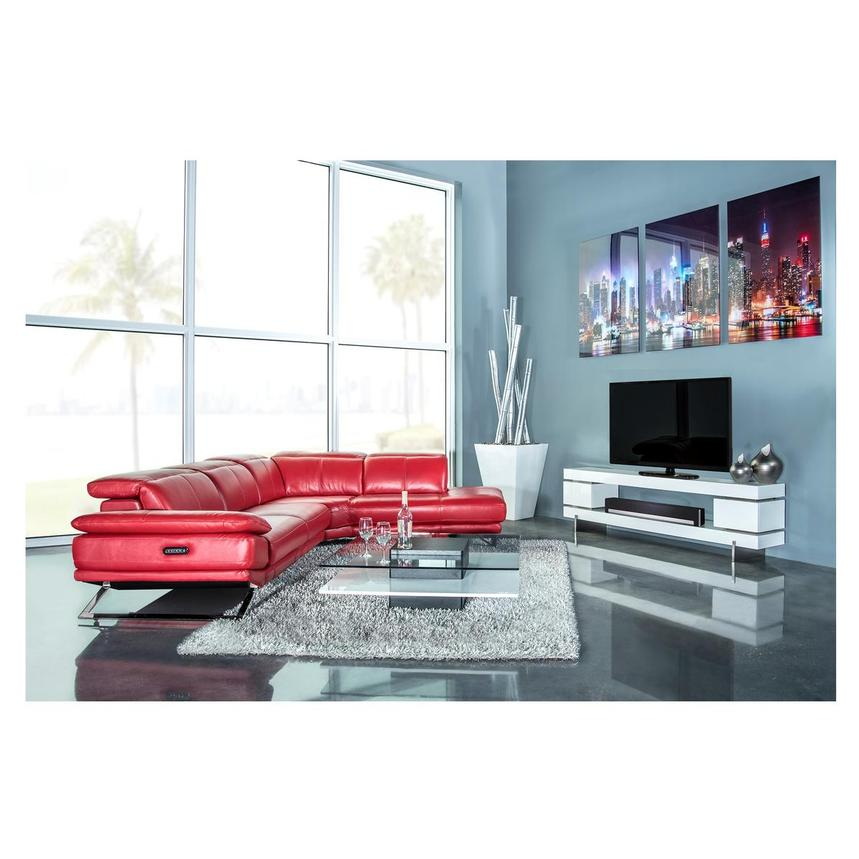 Toronto Red Leather Power Reclining Sofa w/Right Chaise  alternate image, 3 of 13 images.