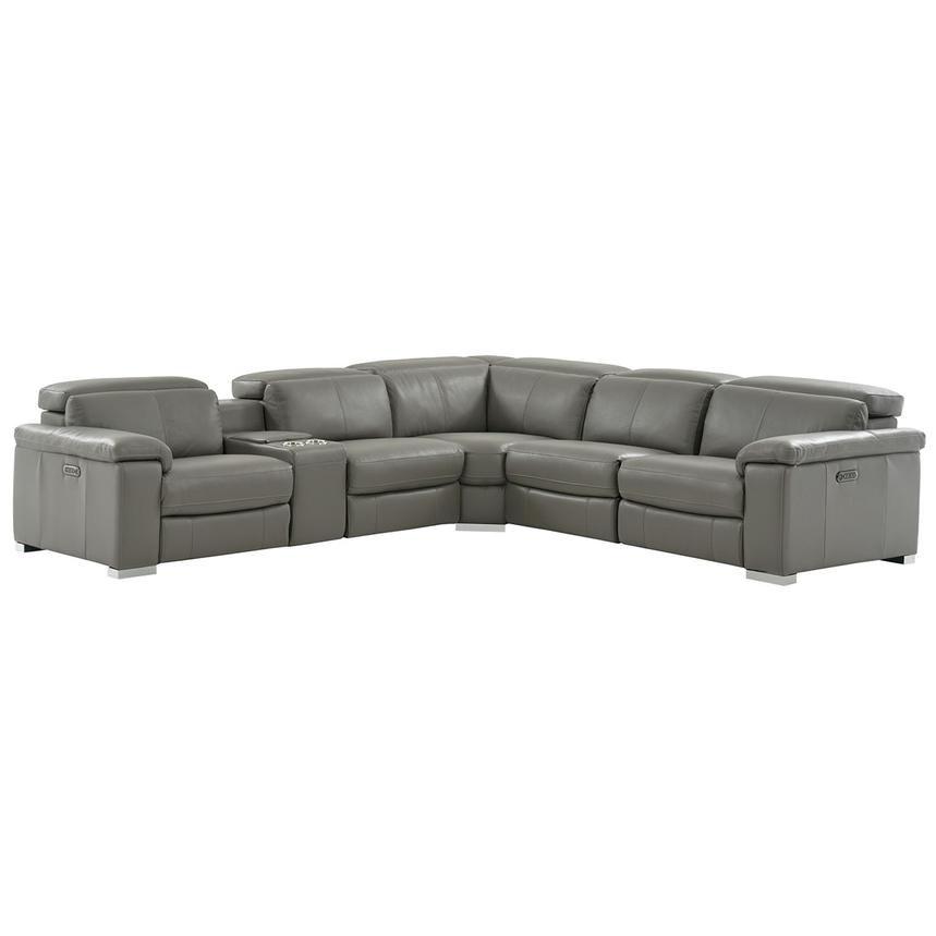 Charlie Gray Leather Power Reclining Sectional  main image, 1 of 13 images.