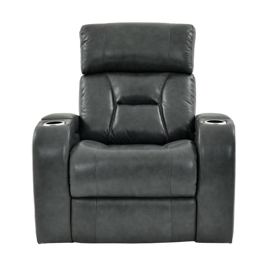 Gio Gray Leather Power Recliner  alternate image, 4 of 13 images.