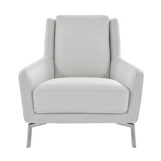Puella White Leather Accent Chair