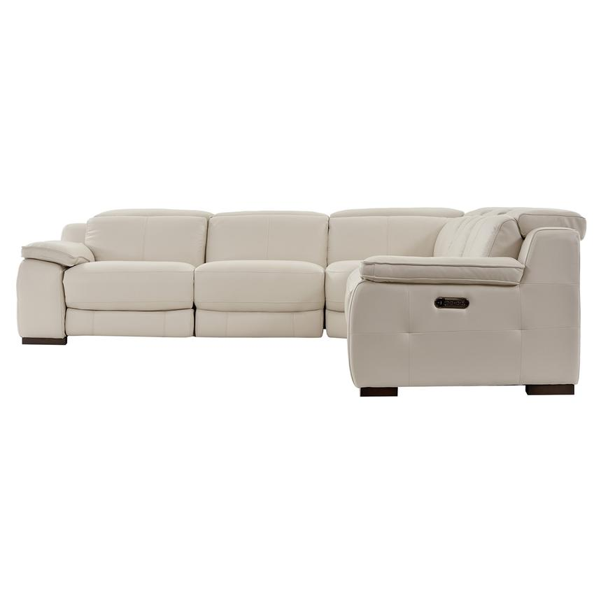 Gian Marco Cream Leather Power Reclining Sectional  alternate image, 4 of 8 images.